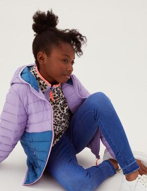 Kız Çocuk Mor Renk Bloklu Hafif Dolgulu Mont