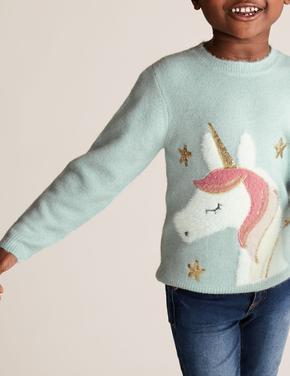 Kız Çocuk Turkuaz Unicorn Desenli Kazak