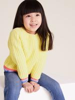 Kız Çocuk Sarı Şerit Detaylı Örme Kazak