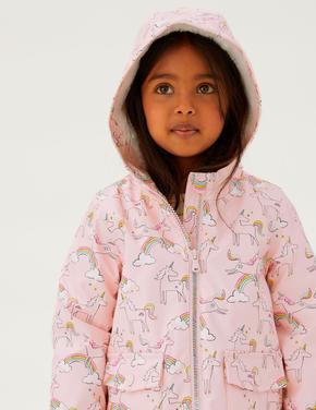 Kız Çocuk Pembe Stormwear™ Unicorn Desenli Balıkçı Mont (2-7 Yaş)