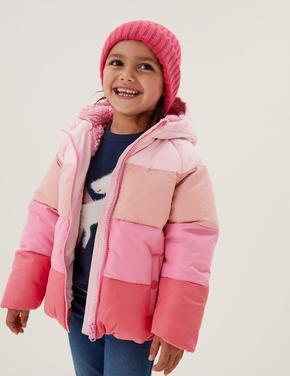 Kız Çocuk Pembe Stormwear™ Kapüşonlu Şişme Mont (2-7 Yaş)