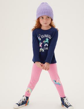 Kız Çocuk Pembe Unicorn Desenli Legging Tayt (2-7 Yaş)