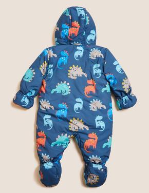 Bebek Mavi Dinozor Desenli Kapüşonlu Tulum (0-3 Yaş)