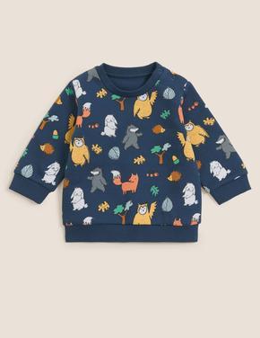 Bebek Lacivert Grafik Desenli Sweatshirt (0-3 Yaş)