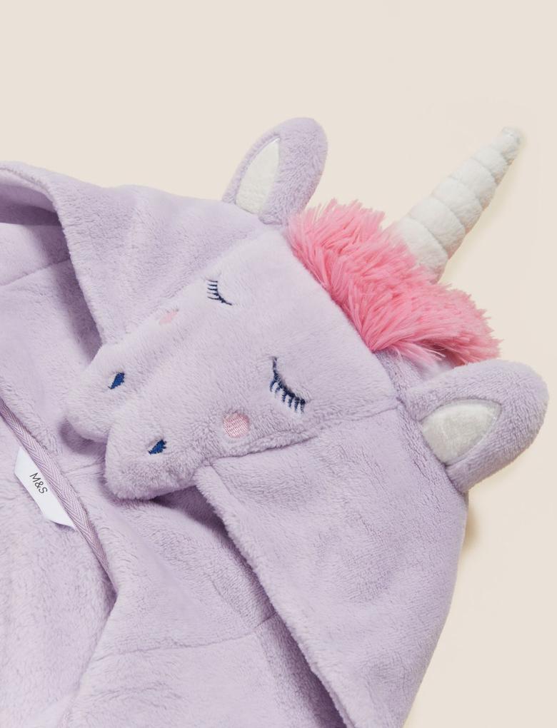 Çocuk Multi Renk 3D Unicorn Desenli Kapüşonlu Sabahlık