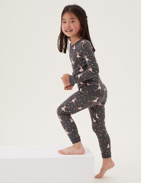 Çocuk Pembe Saf Pamuklu 2'li Pijama Takımı (1-7 Yaş)