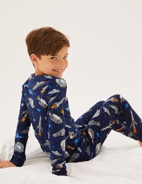 Çocuk Multi Renk Uzay Desenli Pijama Takımı (7-16 Yaş)
