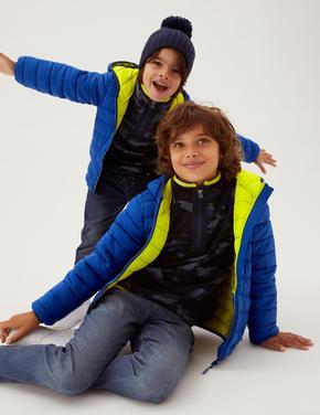 Erkek Çocuk Mavi Stormwear™ Kapüşonlu Şişme Mont (6-16 Yaş)