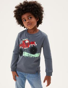 Erkek Çocuk Gri Canavar Kamyon Desenli Pullu Sweatshirt (2-7 Yaş)