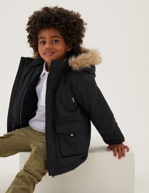Erkek Çocuk Siyah Stormwear™ Kapüşonlu Mont (2-7 Yaş)