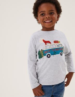 Erkek Çocuk Gri Kamp Desenli T-Shirt (2-7 Yaş)