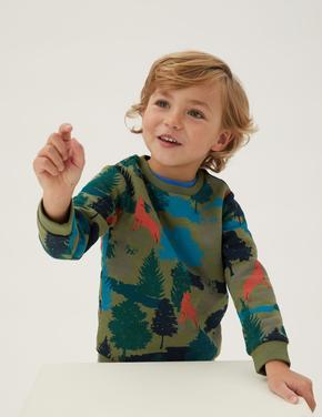 Erkek Çocuk Yeşil Orman Desenli Sweatshirt (2-7 Yaş)