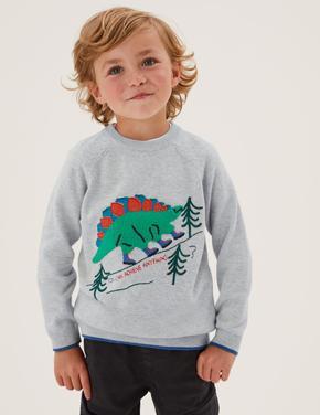 Erkek Çocuk Gri Saf Pamuklu Dinozor Desenli Kazak (2-7 Yaş)