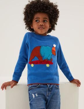 Erkek Çocuk Mavi Saf Pamuklu Ayı Desenli Örme Kazak (2-7 Yaş)