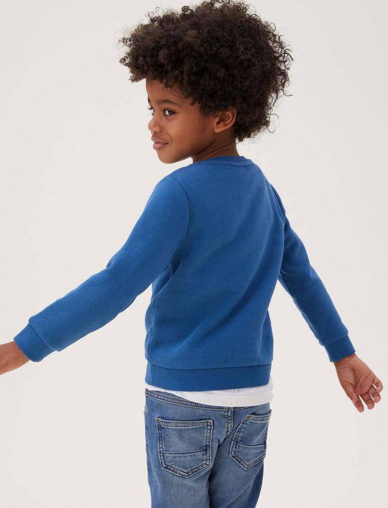 Erkek Çocuk Lacivert Kurt Desenli Sweatshirt (2-7 Yaş)