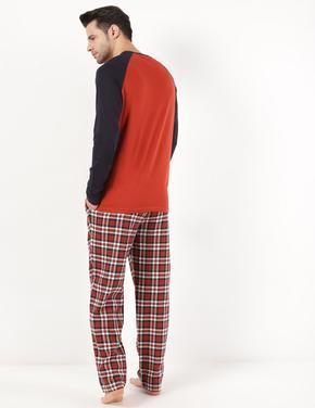 Erkek Turuncu Saf Pamuklu Kareli Pijama Takımı