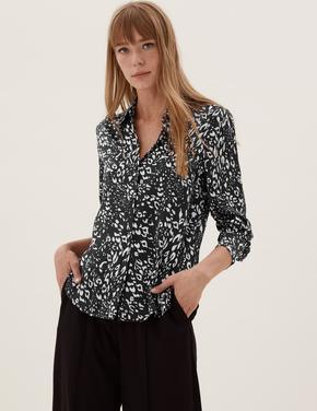 Kadın Siyah Desenli Uzun Kollu Saten Gömlek