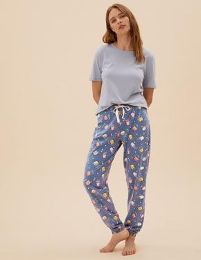 Kadın Mavi Coffee Temalı Pijama Altı