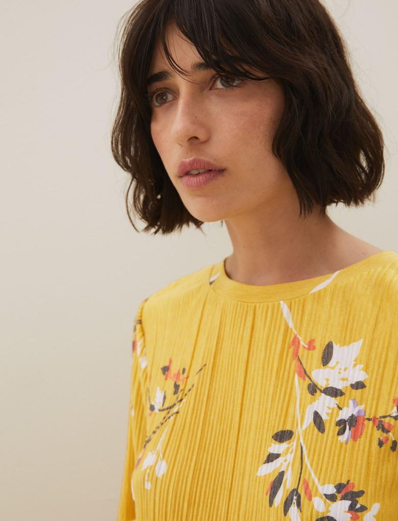 Kadın Sarı Jersey Çiçek Desenli Bluz