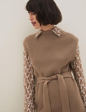 Kadın Kahverengi Cashmere Karışımlı Triko Süveter/Kolsuz Kazak
