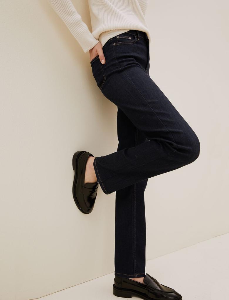 Kadın Lacivert Luxury Straight Leg Jean Pantolon