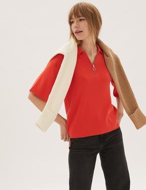 Kadın Turuncu Yarım Fermuarlı Triko T-Shirt