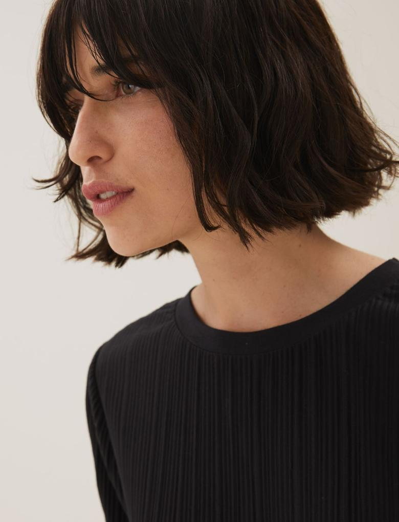 Kadın Siyah Jersey Kısa Kollu Bluz
