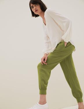 Kadın Yeşil Tapered Fit Jogger Pantolon