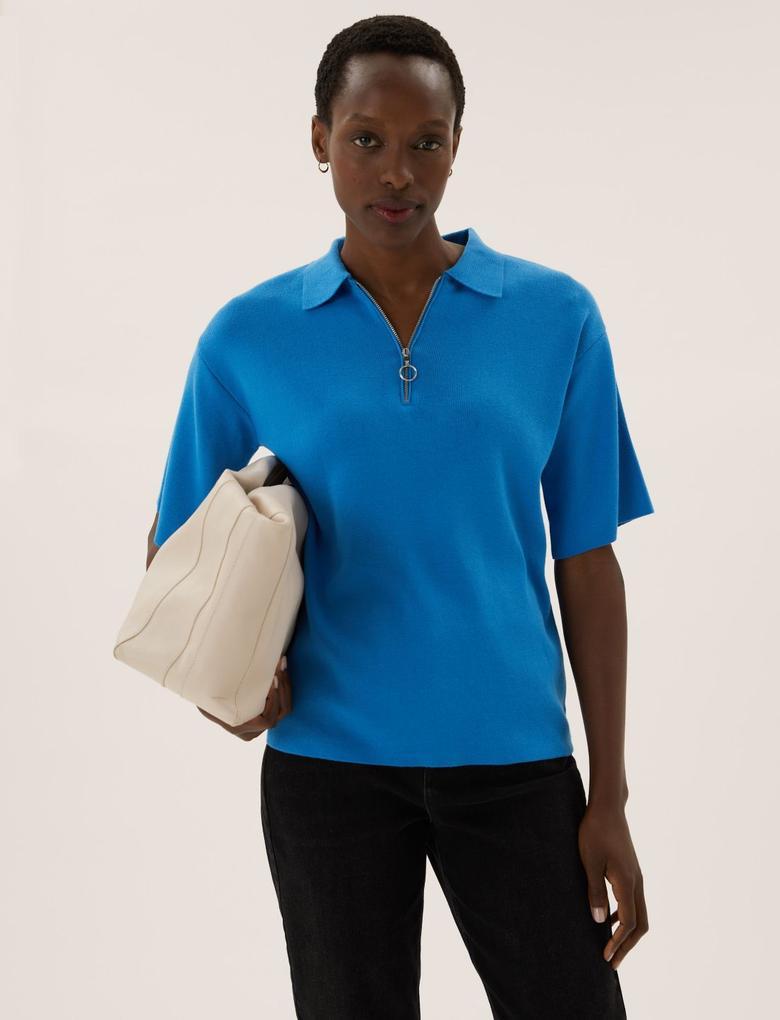 Kadın Mavi Yarım Fermuarlı Triko T-Shirt