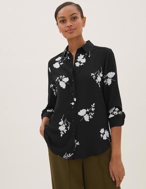 Kadın Siyah Çiçek Desenli Gömlek