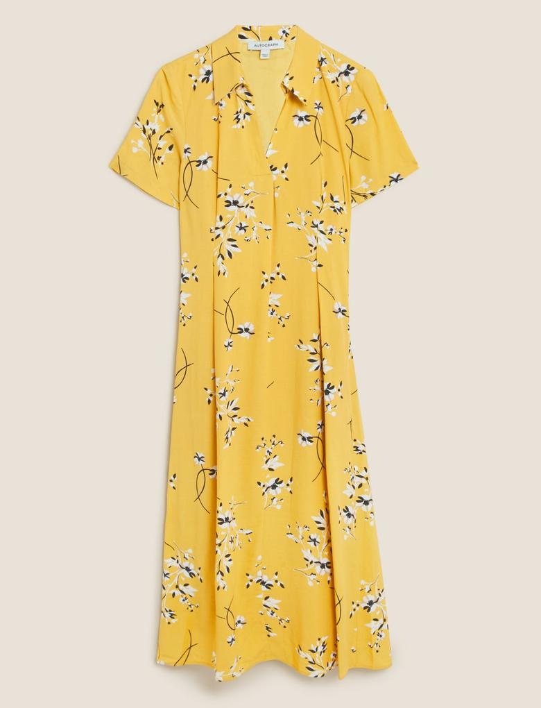 Kadın Sarı Çiçek Desenli Keten Gömlek Elbise