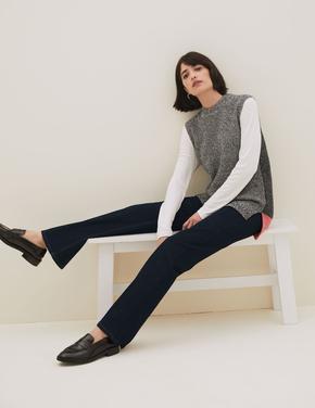 Kadın Lacivert Luxury Yüksek Belli Flared Jean Pantolon