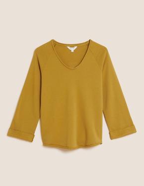 Kadın Sarı Saf Pamuklu V Yaka Sweatshirt