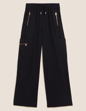 Kadın Siyah Fermuar Detaylı Wide Leg Jogger Pantolon