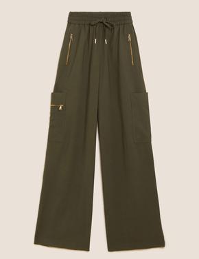 Kadın Yeşil Fermuar Detaylı Wide Leg Jogger Pantolon
