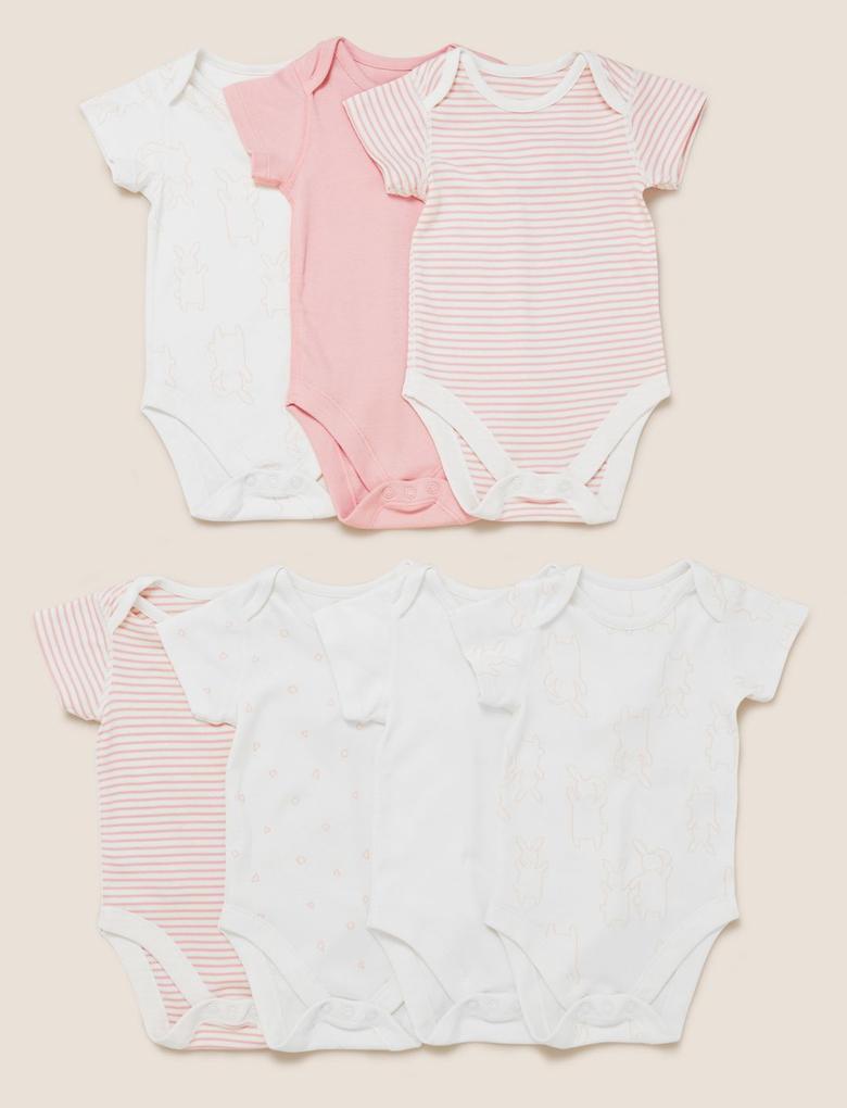 Bebek Pembe 7'li Saf Pamuklu Body