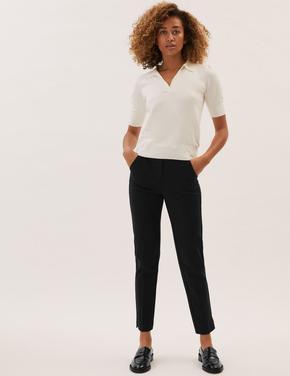 Kadın Siyah Jersey Slim Fit Ankle Grazer Pantolon