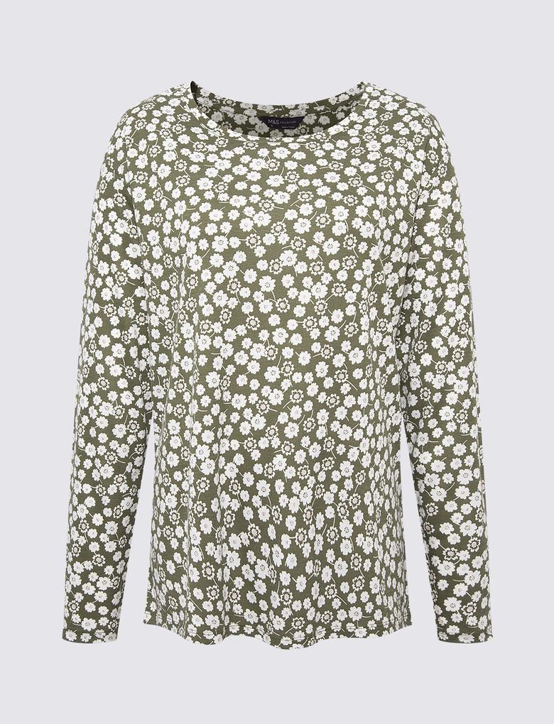 Kadın Yeşil Relaxed Fit Uzun Kollu T-Shirt