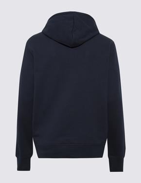 Erkek Siyah Saf Pamuklu Kapüşonlu Sweatshirt