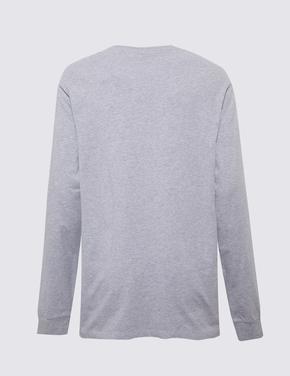 Erkek Gri Saf Pamuklu Uzun Kollu T-Shirt