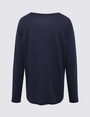 Kadın Lacivert Yuvarlak Yaka T-Shirt