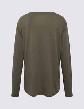 Kadın Yeşil Yuvarlak Yaka T-Shirt