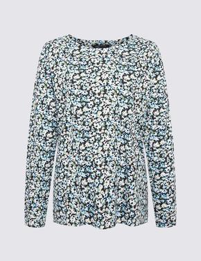 Kadın Siyah Çiçek Desenli Relaxed Fit T-Shirt
