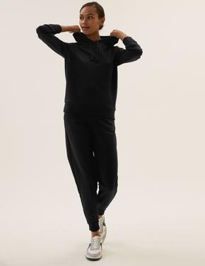 Kadın Siyah Yüksek Belli Jogger Eşofman Altı