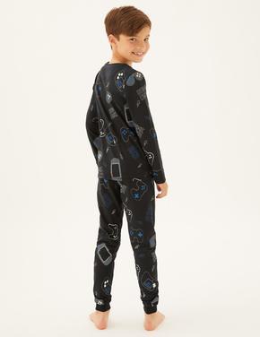 Çocuk Mavi Oyun Desenli Pijama Takımı (7-16 Yaş)