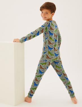 Çocuk Yeşil Kertenkele Desenli Pijama Takımı (7-16 Yaş)