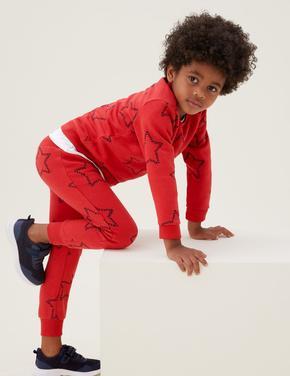 Erkek Çocuk Turuncu Yıldız Desenli Eşofman Altı (2-7 Yaş)