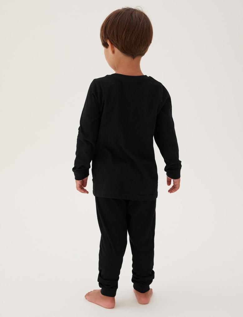 Çocuk Multi Renk İskelet Desenli Saf Pamuklu Pijama Takımı (1-10 Yaş)