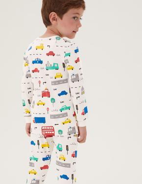 Çocuk Beyaz Araba Desenli Pijama Takımı (1-7 Yaş)