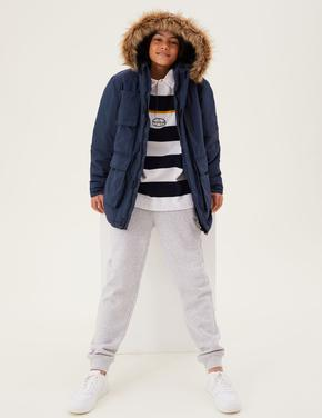 Erkek Çocuk Lacivert Stormwear™ Kapüşonlu Pamuklu Mont (6-16 Yaş)